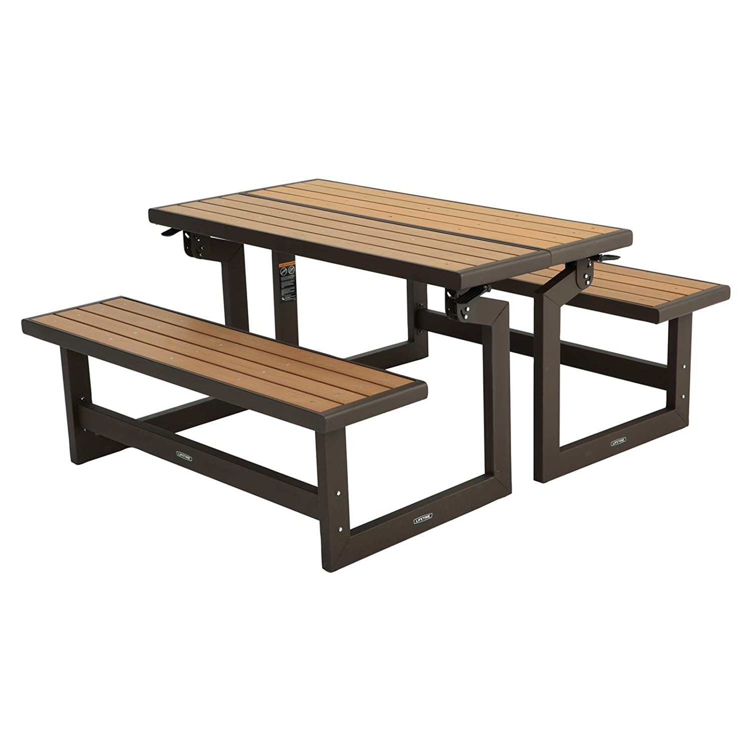 Amazon.com : Lifetime Products Wood Grain Convertible Folding Picnic Table  : Garden U0026 Outdoor
