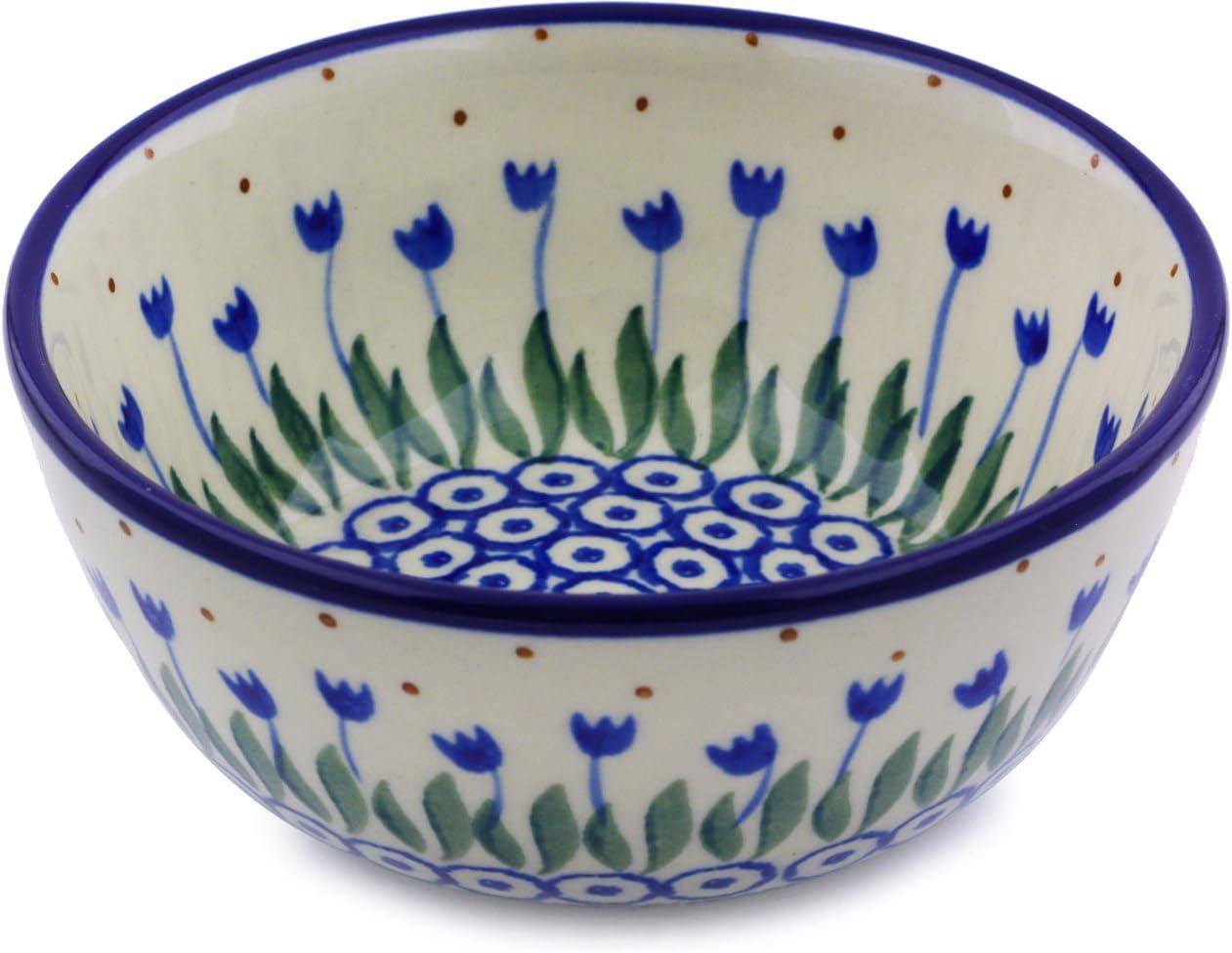 Polish Pottery Bowl 5-inch made by Ceramika Artystyczna (Water Tulip Theme)