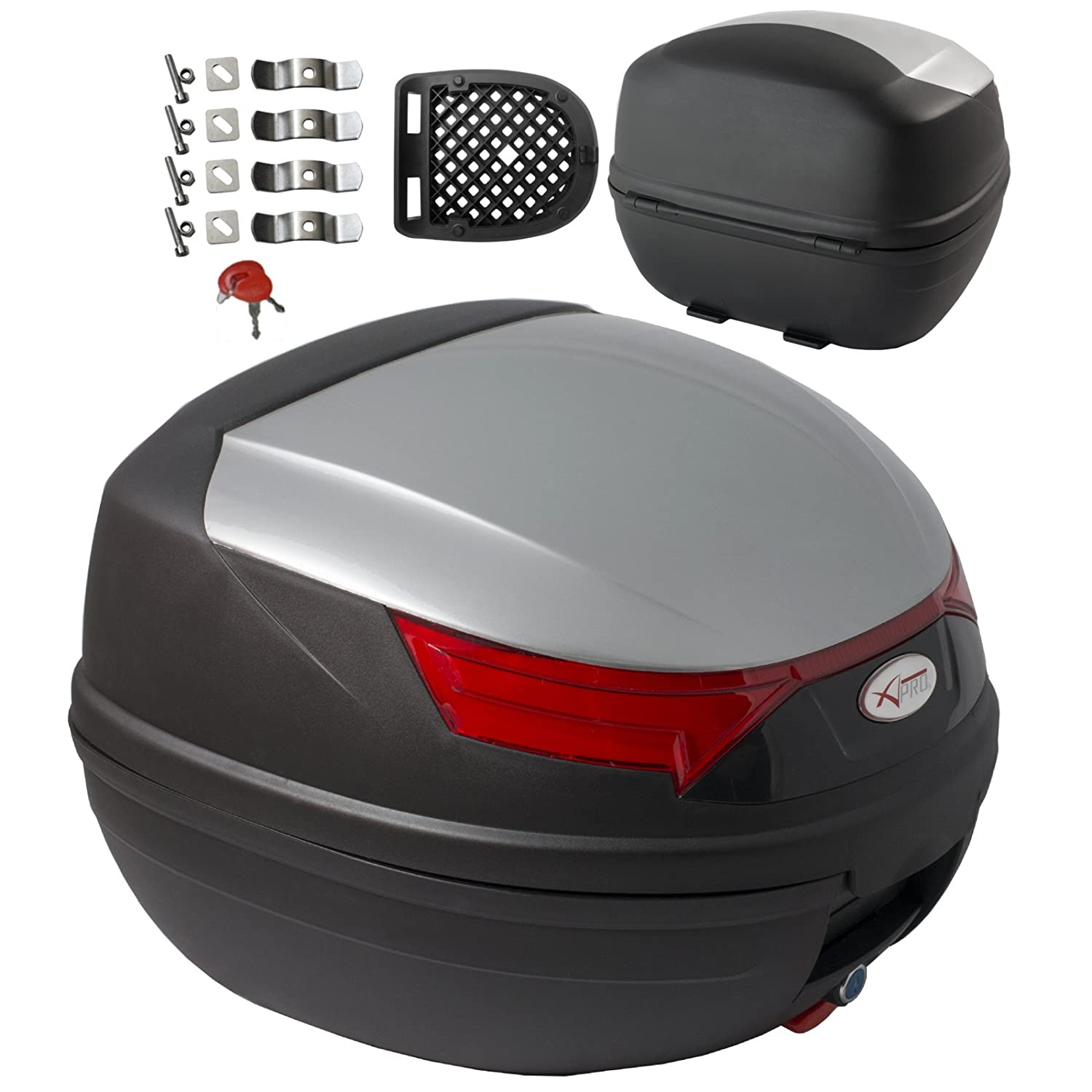 A-pro top case box 46 LT, Universal motorbike scooter, luggage quad, white 5180000081614