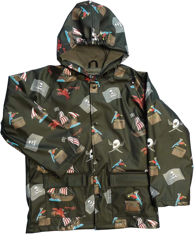 Foxfire for Kids Boys Black Pirate Theme Raincoat
