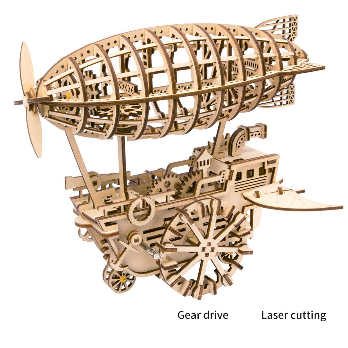LIANG Motorboat Wooden Puzzle, 3d Wooden Puzzle Locomotive Craft Model And Mechanical Gear  The Best Toy For Boys And Adults