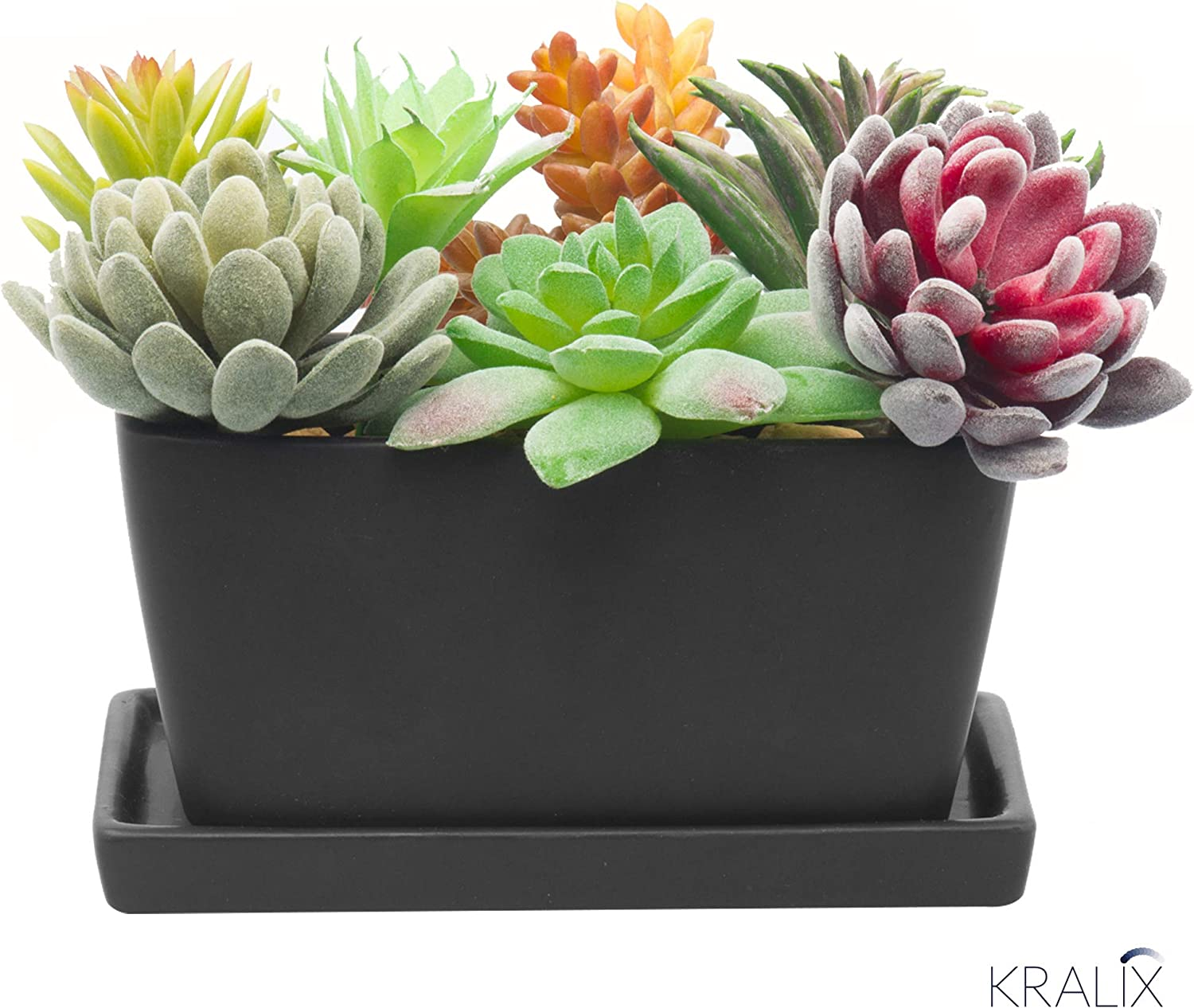 Succulent Planter Ceramic Containers, Cactus Planters, Flower Pots with Drainage Hole and Tray, Black Rectangular Planter
