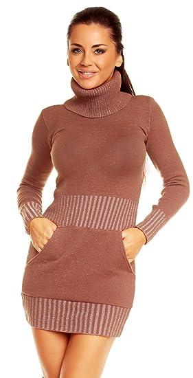7f81f4c4dc9 Zeta Ville - Mini robe moulante en maille col roulé coupe ajustée - femme  178z (Cappuccino