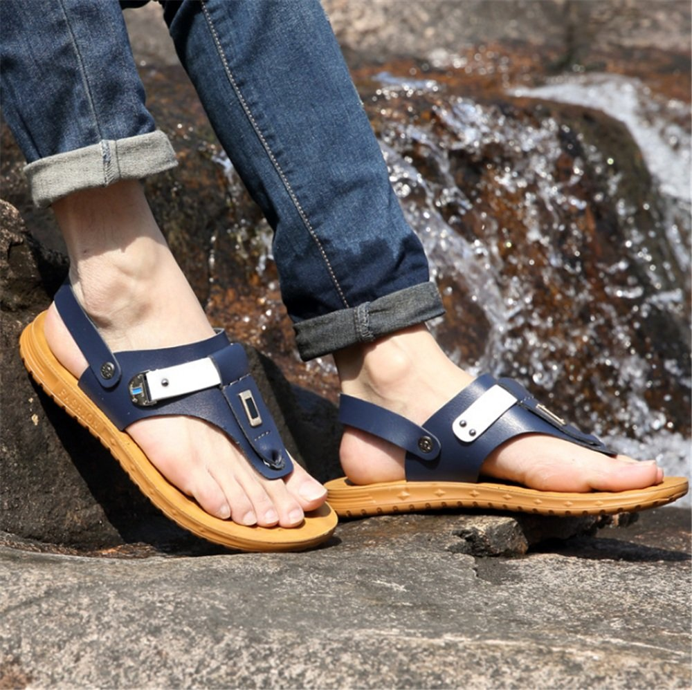 Wagsiyi Hausschuhe Sommer Herren Sandalen Herren Wort Flip-Flops Strandschuhe Strand Schuhe Rutschfeste Schuhe Strandschuhe Flip-Flops (Farbe : Blau, Größe : 40 EU) Blau 03d35a