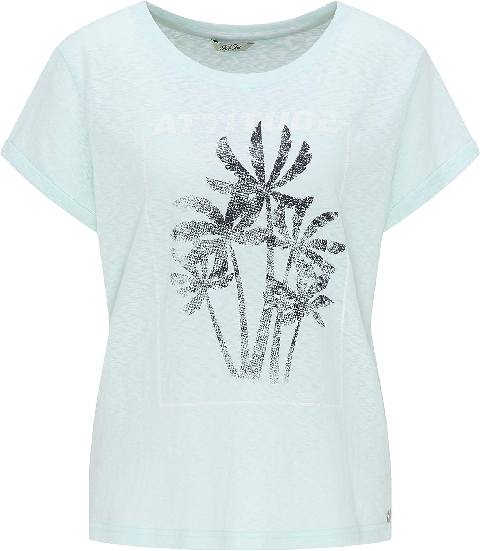 Petrol Industries – Camiseta para mujer con impresión de palmeras, color azul claro (Soothing Sea 6126) Large (tamaño del fabricante: L): Amazon.es: Ropa y accesorios