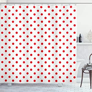 "Ambesonne Geometric Shower Curtain, Classical Pattern with Country Picnic Theme Retro Style Polka Dot Shapes, Cloth Fabric Bathroom Decor Set with Hooks, 75"" Long, White Vermilion"