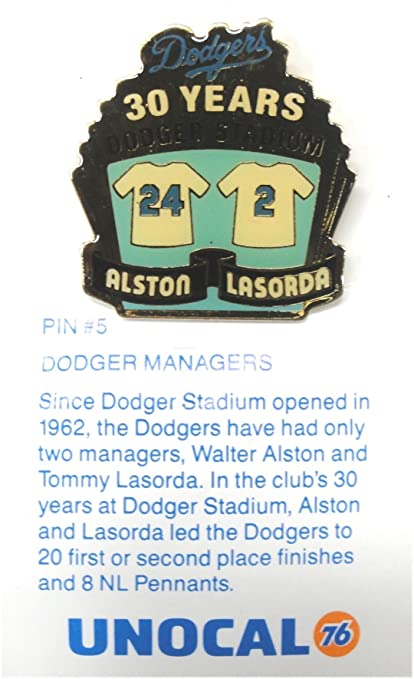 1 Pin Walt Alston Tommy Lasorda Managers Los Angeles Dodgers