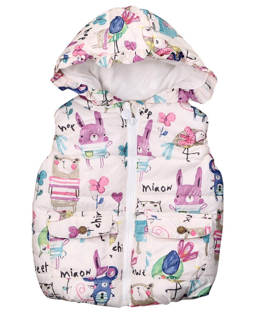 Kids Girls Cartoon Animal Print Cute Hooded Vest Coat Jacket Outwear Waistcoat Aliven