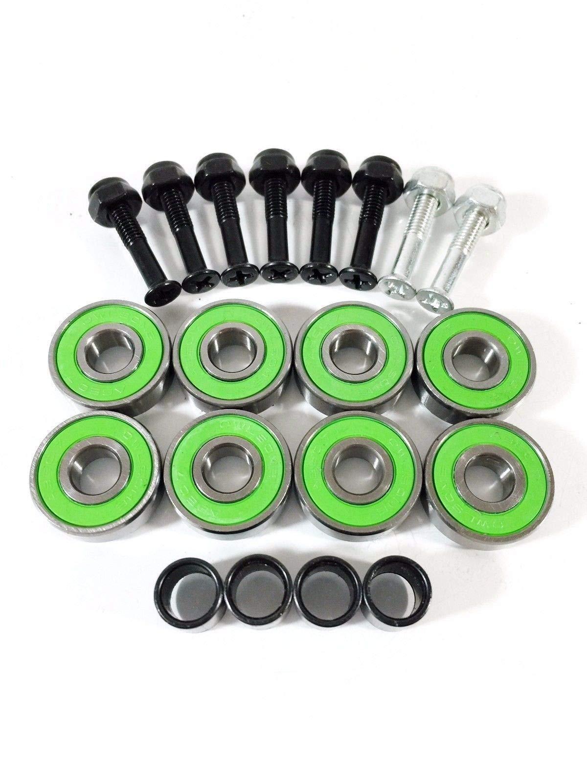 Green 8 Pc ABEC 7 Skateboard 608 Bearings + Spacers + 1'' Hardware
