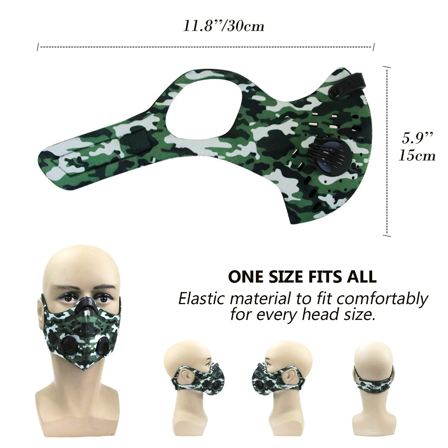Activated Carbon Dust Mask for Breathing Clean Air, with Extra Filters, Excellent for Cycling, Running, No more Exhaust Gas, Dustproof, Anti Allergy and Pollution, PM2.5 N99, Outdoor Activities (Camo) by AirShielz (Image #4)