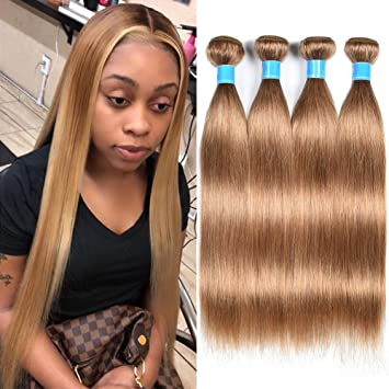 JulyQueen 100g Bundle Straight Remy Hair Wefts Straight Caramel Blonde 27  Color Hair Extensions
