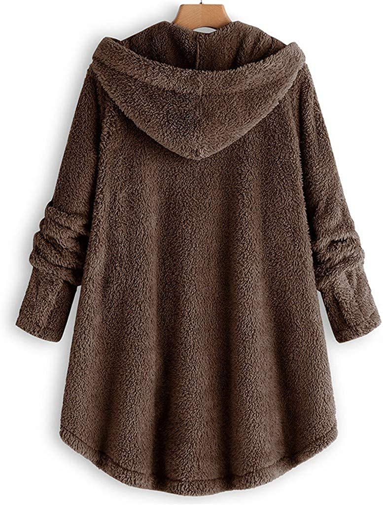 Forthery-Women Hooded Jacket Button Top Fashion Sweater Solid Color Jacket Winter Warm Jacket