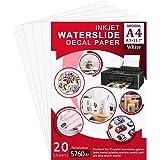 Seogol Waterslide Decal Paper for Inkjet Printers, 20 Sheet A4 Size Clear Water Slide Paper Transfer Printable for DIY…