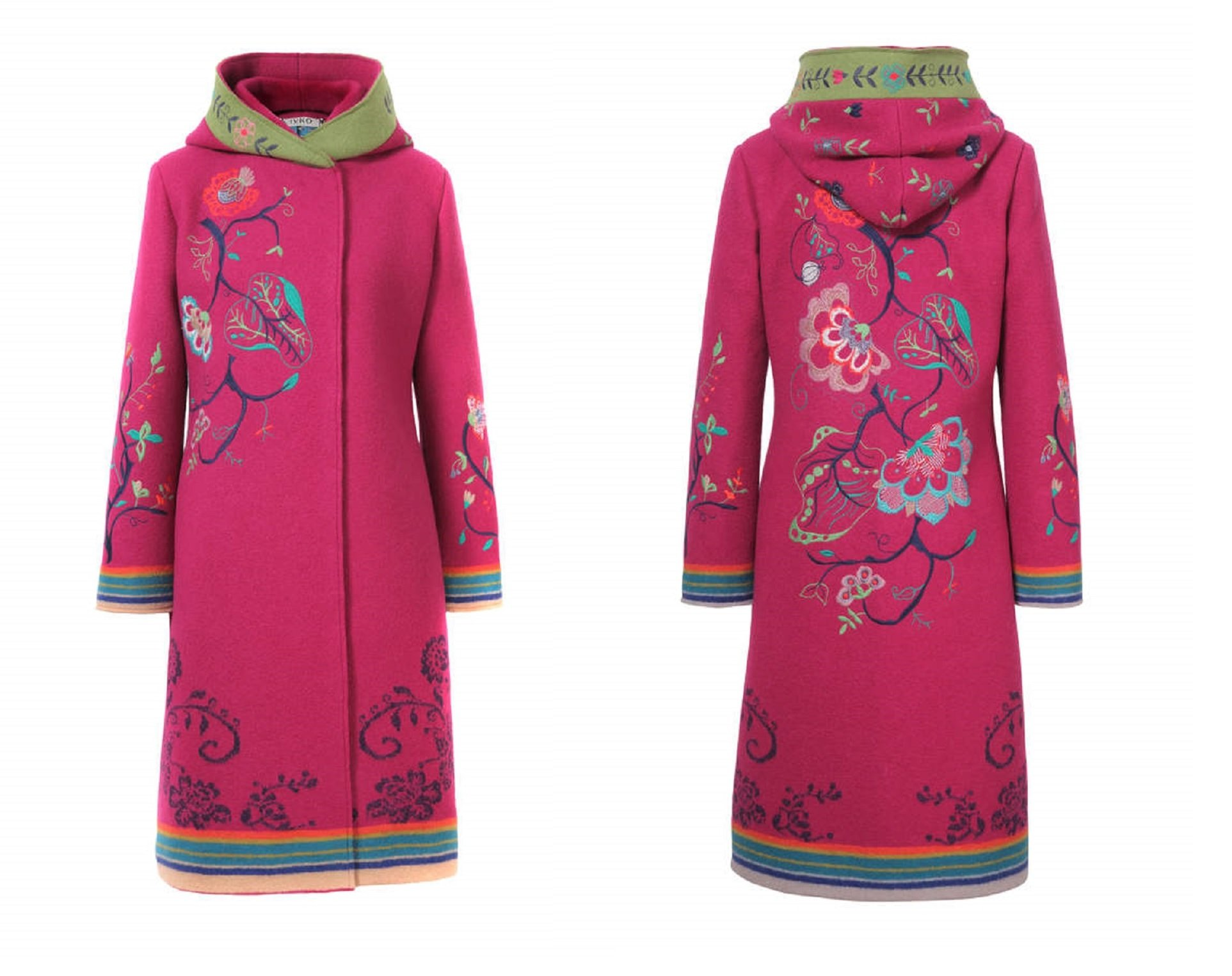 IVKO Boiled Wool Coat With Embroidery, Pink