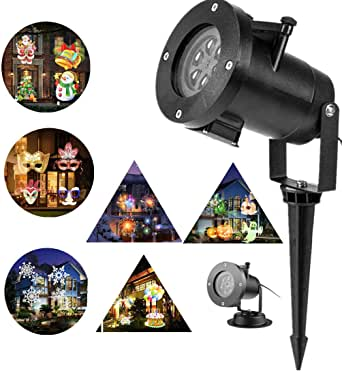 Christmas Projector Lights Outdoor 16 Patterns Slide Replaceable Colorful LED Rotating Projector Lamp Garden Landscape Projection Led Light for All Kinds of Occasions