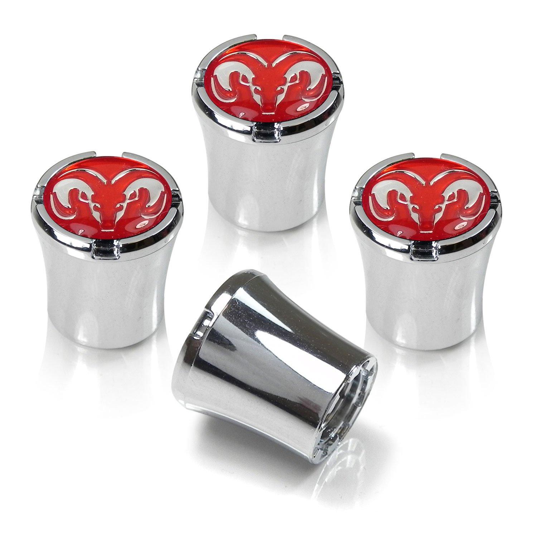 Dodge RAM Red Logo Chrome Tire Stem Valve Caps