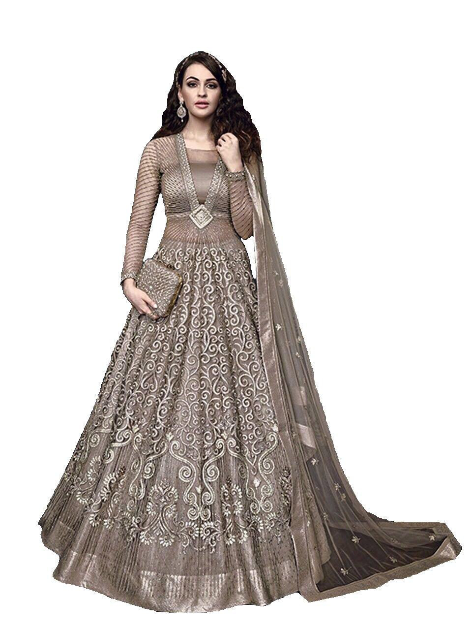 Delisa Ready Made Designer Indian Wear Anarkali Suit Party Wear Zoya 3 (Grey, XL-44)