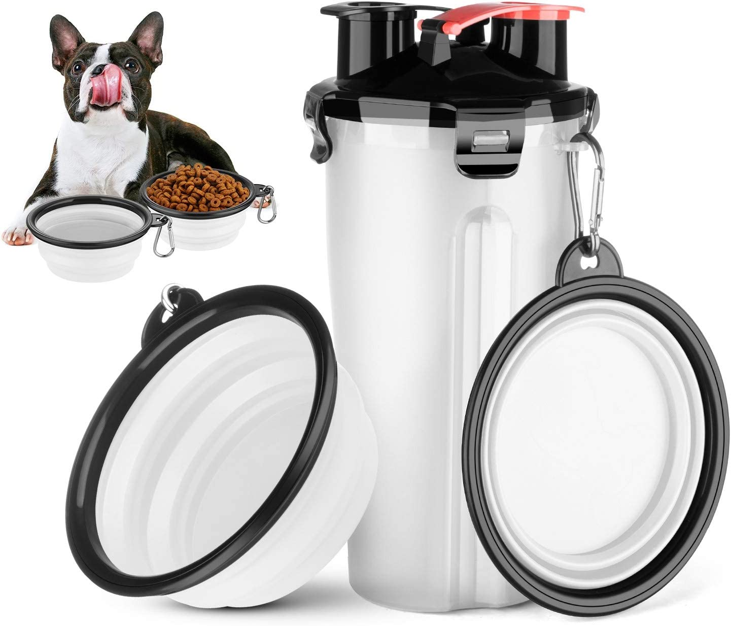 HETH Dog Travel Water Bottle, 2 in 1 Portable Dog Water Dispenser and Food Container with 2 Collapsible Bowls for Your Pets Walking and Traveling
