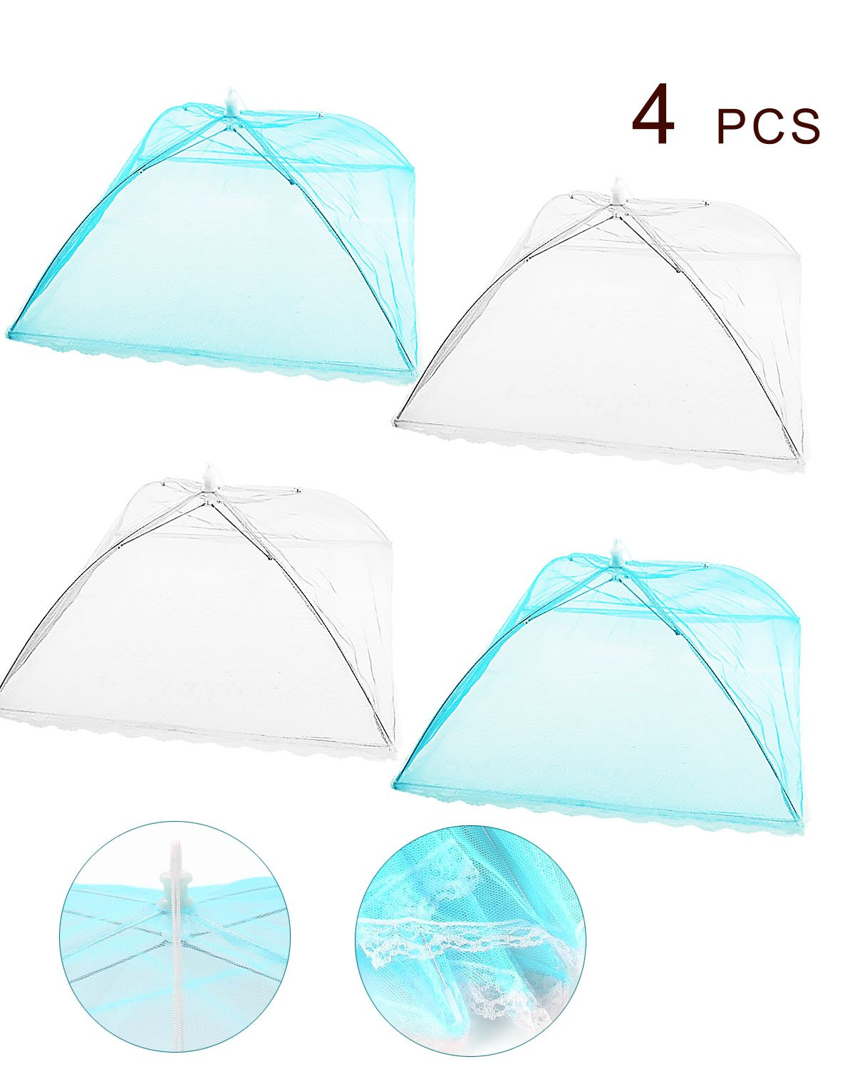 SBYURE 18''x18'' Large Size Color Pop-Up Mesh Food Cover Tents Umbrella for Outdoors, Screen Tents Protectors For Bugs, Parties Picnics, BBQs, Reusable and Collapsible,4PACK(whitex2,bluex2)