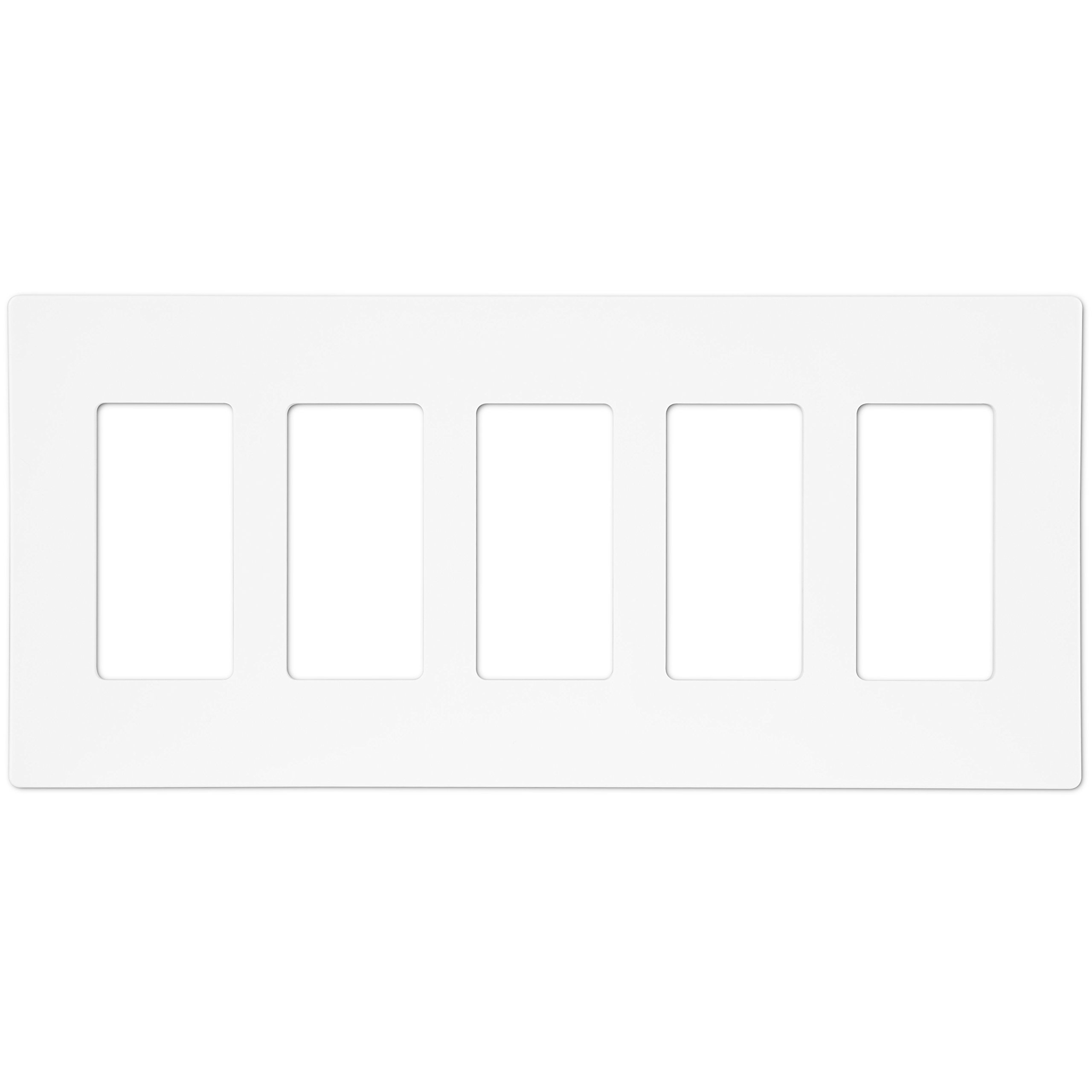 Enerlites SI8835-W Screwless Decorator Wall Plate Child Safe Cover, Standard Size 5-Gang, Polycarbonate Thermoplastic, White