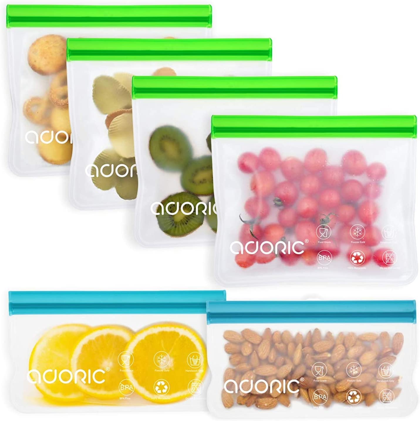 Adoric Reusable Snack Bags, Silicone Food Storage Bags BPA Free, Eco-Friendly Airtight Seal Ziplock Lunch Bag for Snacks, Fruits, Sandwiches(4 Medium +2 Small)