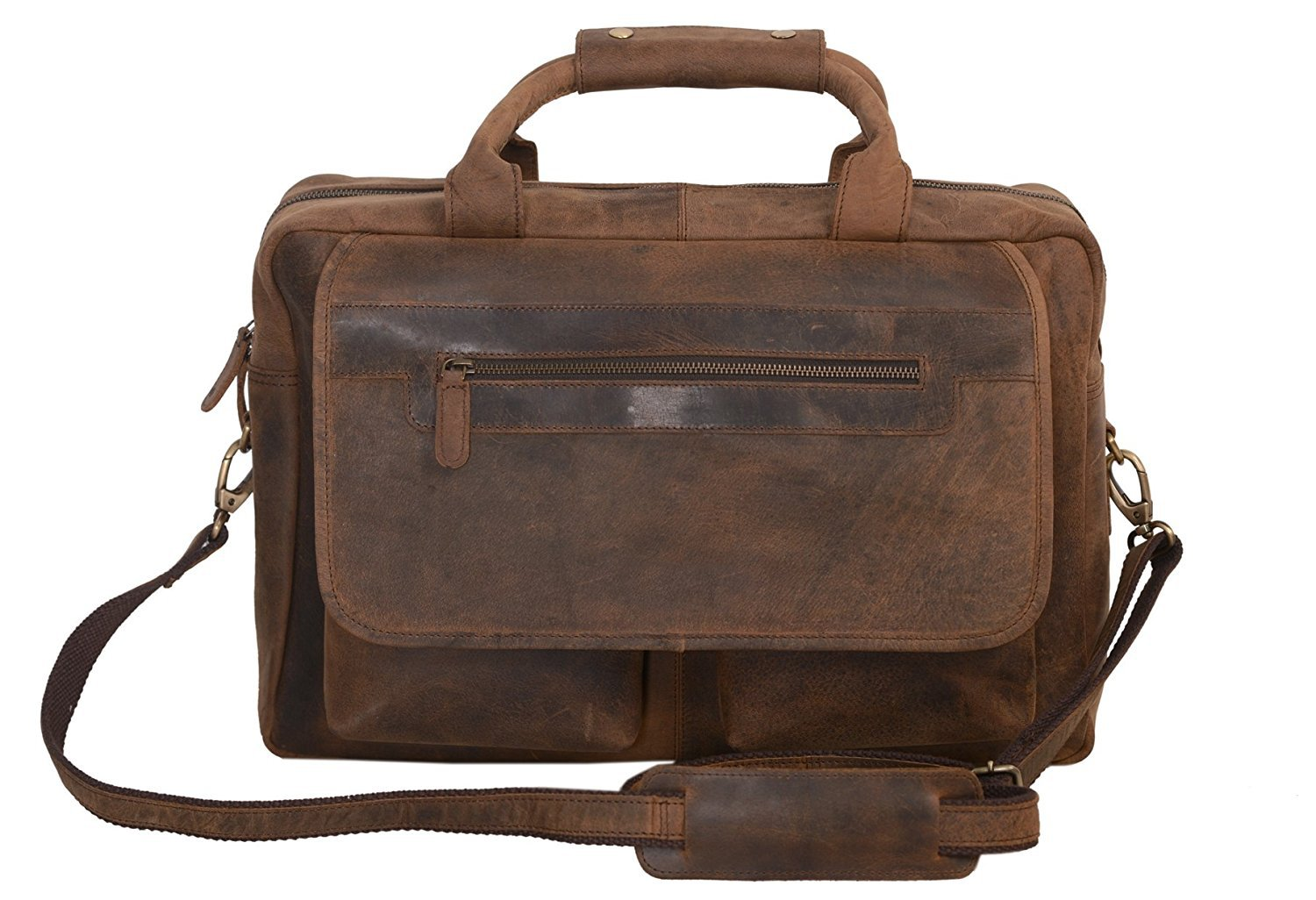 KomalC 16 Inch Retro Buffalo Hunter Vintage Leather Laptop Messenger Bag Office Briefcase College Bag for Men and Women/Fits Upto 15.6 Inch Laptop