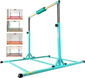 Marfula Adjustable Gymnastics Bar Kip Bar with Fiberglass Rail & 304 Stainless Steel Arms for Kids and Gymnast Exercise Home and Gym Club Use