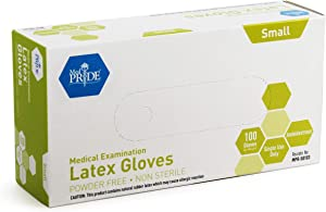 Medpride Medical Exam Latex Gloves| 5 mil Thick, Small Box of 100| Powder-Free, Non-Sterile, Heavy Duty Exam Gloves| Professional Grade for Hospitals, Law Enforcement, Food Vendors, Tattoo Artists