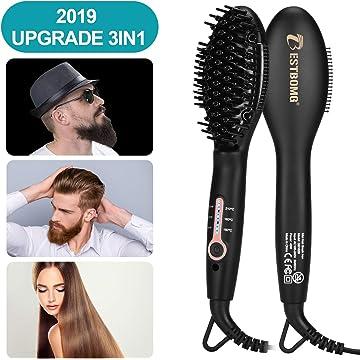 Ionic Beard Straightener Comb for men - 2019 Upgrade Quick Beard Styler Comb Ionic Electric Beard Straightening, Hair Straightening Brush for Women,Dual Voltage 100V-240,Heat Brush For Home & Travel