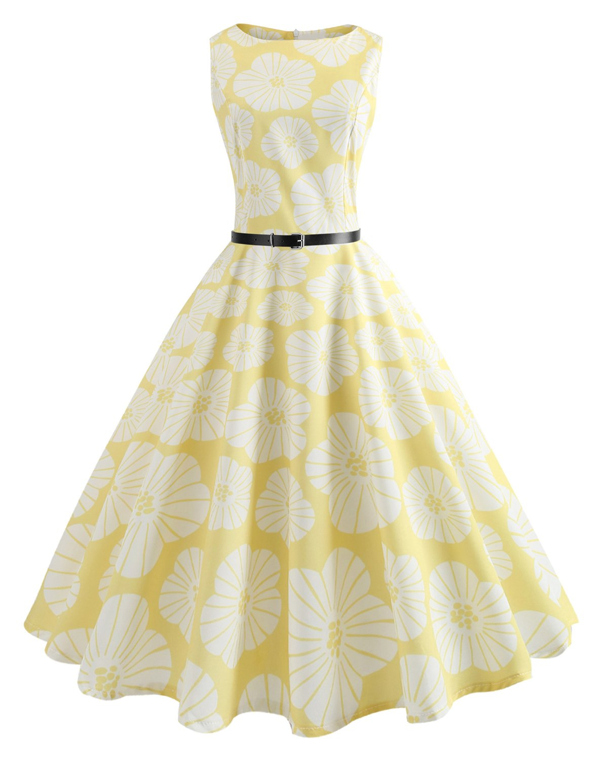 ZAFUL Women's 50s Vintage Summer Dress Boat Neck Sleeveless Floral Tea with Belt Cocktail Party A-Line Midi Dress(Yellow Flower,S)