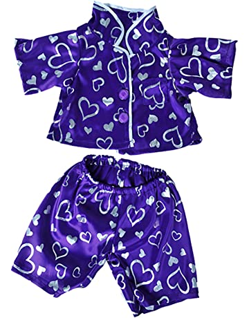dcc380a967 Dark Purple Silver Heart PJ s Teddy Bear Clothes Outfit Fits Most 14