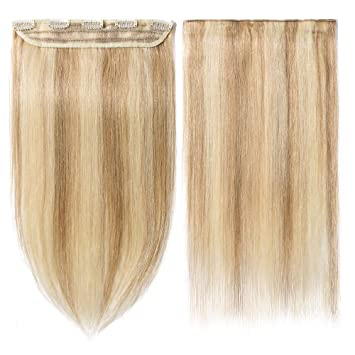 Clip In Hair Extensions Human Hair One Piece 5 Clips Real Human Hair Straight Ash Blonde
