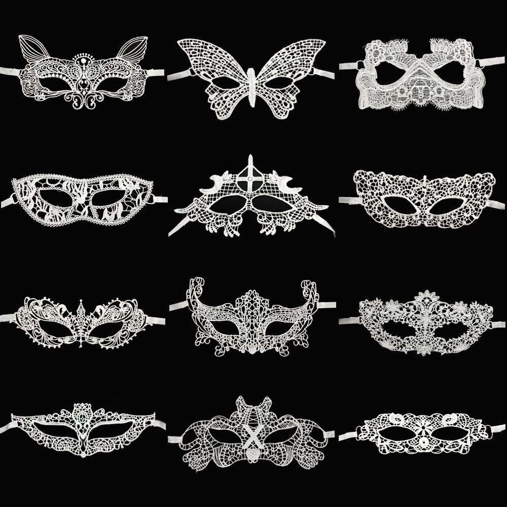 CSPRING 12PCS White Lace Venetian Masquerade Mask Sexy Woman Mask For Halloween Costume Party Ball, Mardi Gras or Prom Dress by