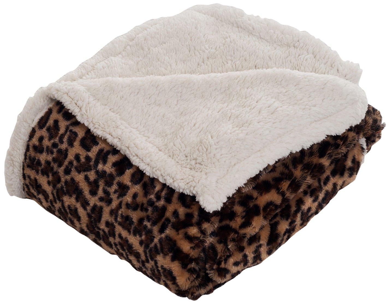 Bedford Home Throw Blanket, Fleece/Sherpa, Leopard