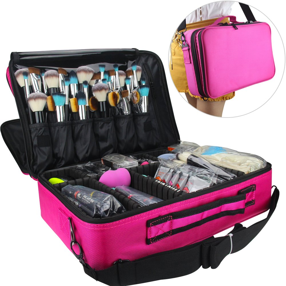 Professional Makeup Train Case Cosmetic Organizer Make Up Artist Box 2 Layer Large Size with Adjustable Shoulder shenzhen