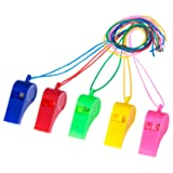 Mudder 40 Pieces Plastic Whistles with Lanyards for