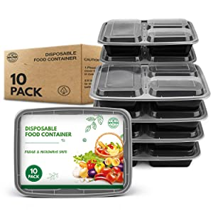 [10 Pack] Meal Prep Containers, Reusable Food Storage Containers with Lids, BPA-Free Polypropylene Food Take Out Boxes Leftover Containers, Freezer & Microwavable, 3-Compartment, 980mL