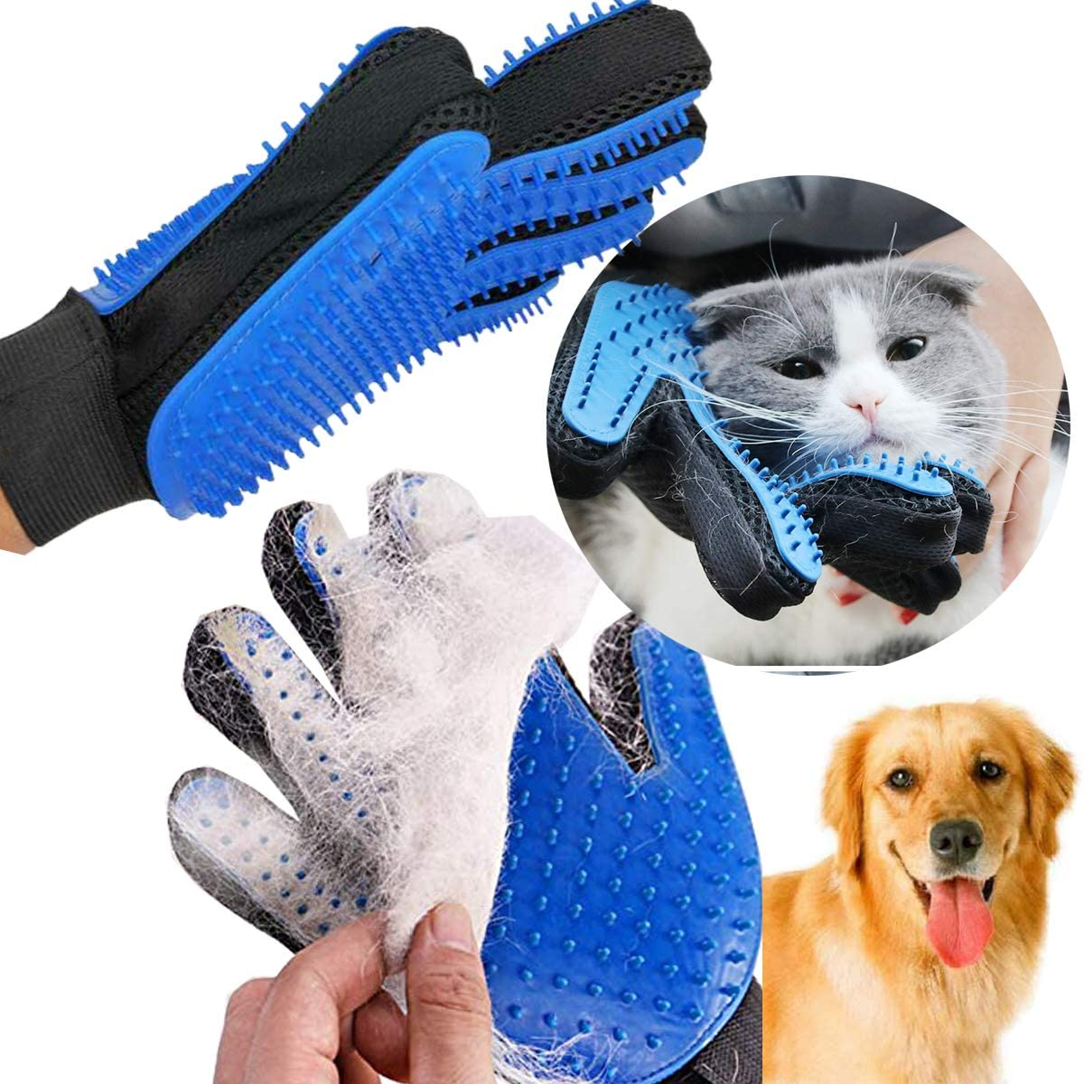 [NEW UPGRADE] Pet Gloves-Gentle Hair Removal Brush Efficient Gloves-Enhanced five-finger design Double-sided can be used on both hands-Perfect for cats and dogs with long and short hair(1pck)