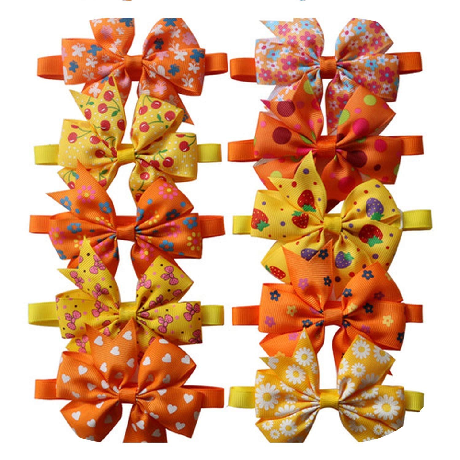 100pcs Fall Pet Cat Dog Grooming Accessories Orange Thanksgiving Pet Supplies Cat Dog Bow Ties Cat Samll Middle Dog Bowties,Mix Colour by PG-One
