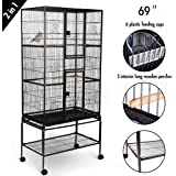 Idealchoiceproduct Bird Flight Cage Portable Parrot Cages Pet Supplies Birdcages Parrot Finch Macaw Cockatoo Birdcage Stands W/Casters Wheels