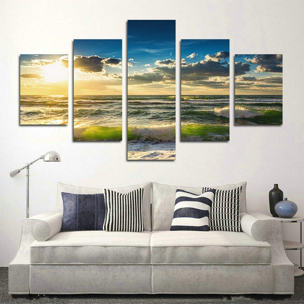 Swmart 5 Stück The Waves of the Sea Bild Bilder, um das Öl der Landschaft Malerei der Landschaft Marine der Art der Leinwand für den Raum (kein Rahmen) swm110 127 x 76,2 cm, Framed, 60 W x 32 H