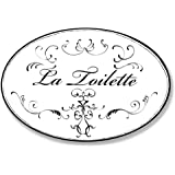 Stupell Home Décor La Toilette White With Black Scrolls Oval Bathroom Wall Plaque, 10 x 0.5 x 15, Proudly Made in USA