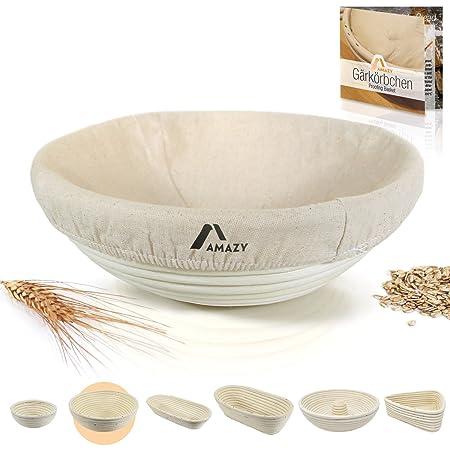 Amazy Banneton para pan / La ideal cesta para masa y fermentación de pan de mimbre natural (redonda | ∅ 25 cm)