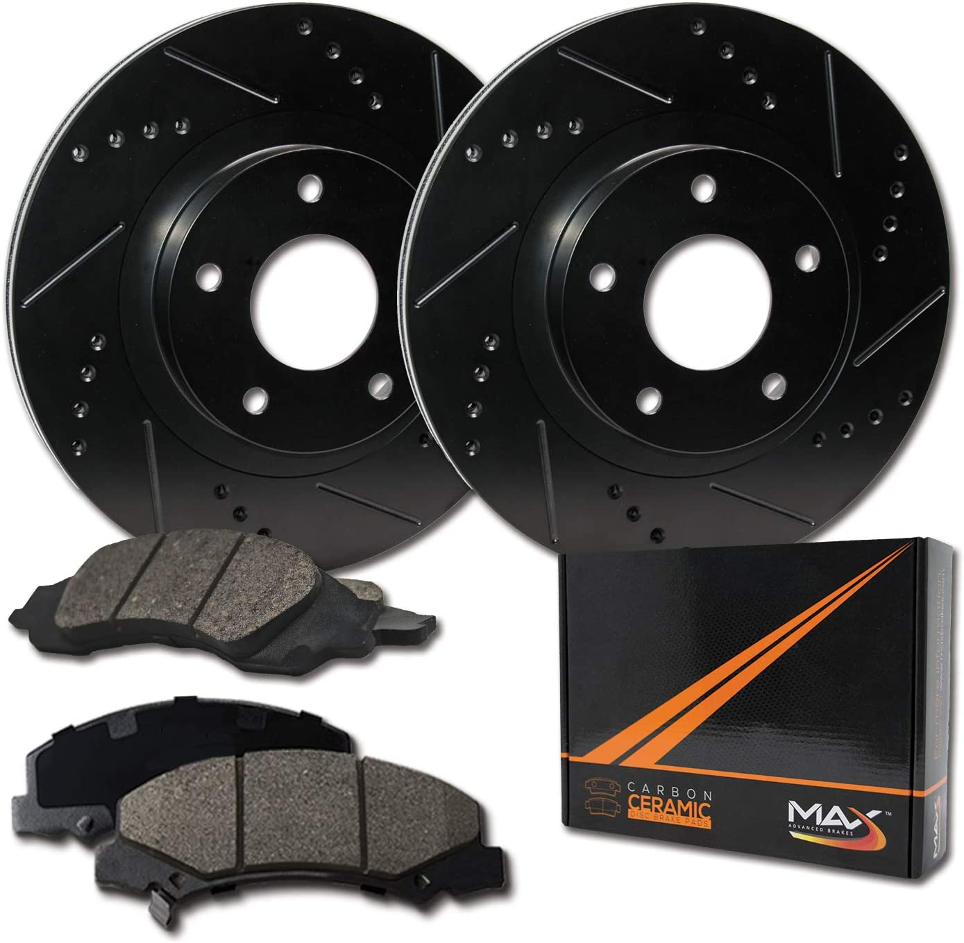 KT091783 Fits: 2003 03 2004 04 2005 05 Mazda 6 E-Coated Slotted Drilled Rotors + Ceramic Pads Max Brakes Front /& Rear Elite Brake Kit