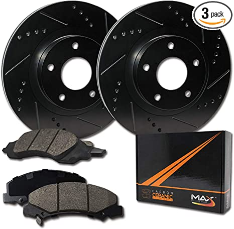 Max Brakes Premium XDS Rotors with Carbon Ceramic Pads KT117431 Front