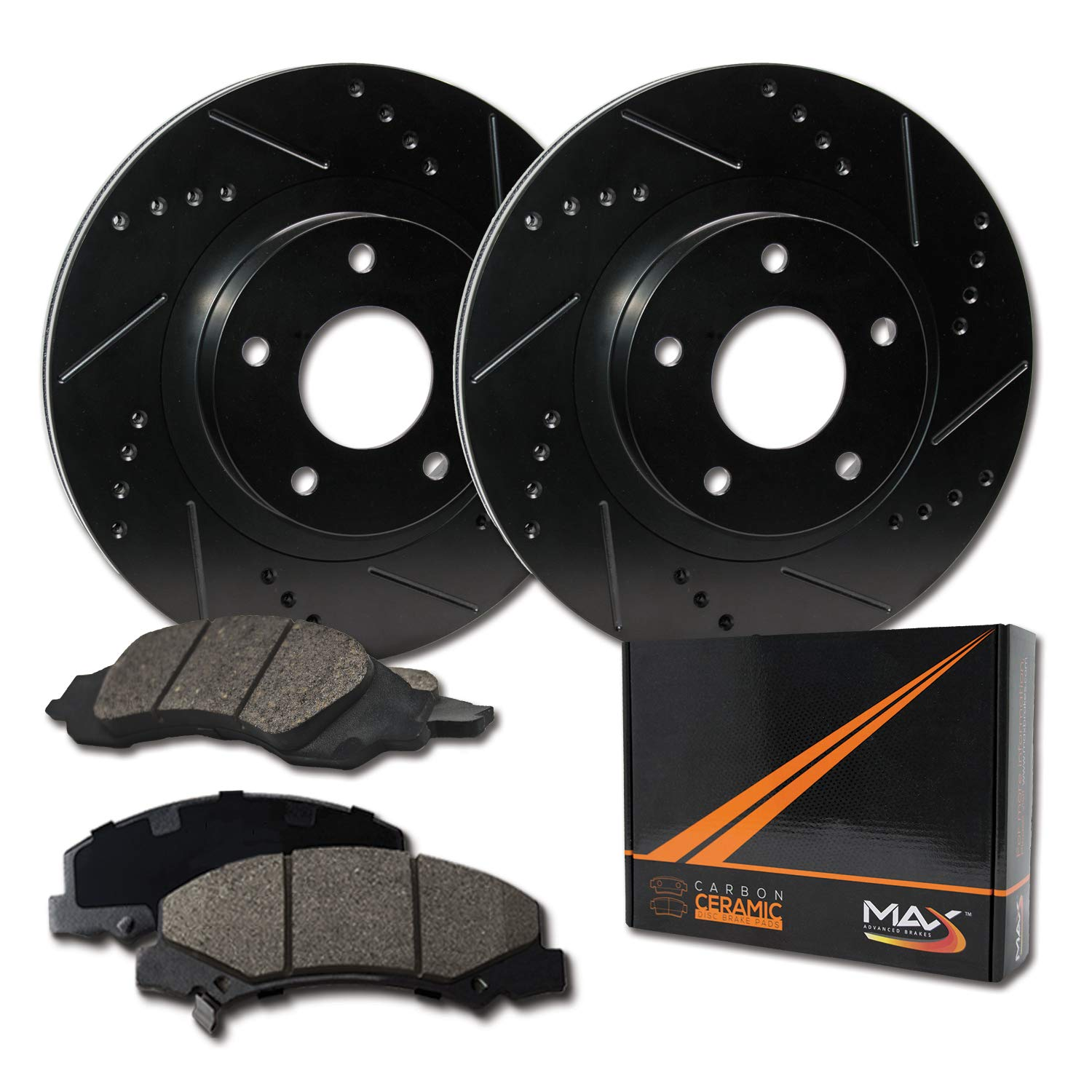 Max Brakes Front Elite Brake Kit [ E-Coated Slotted Drilled Rotors + Ceramic Pads ] KT012681 Fits: Chevy 03-05 Astro Express & Avalanche 1500|00-06 Tahoe Silverado & Suburban 1500 by Max Advanced Brakes