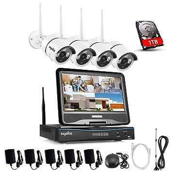 SANNCE sistema de vigilancia wifi NVR 1080P inalámcrica con pantalla LCD de 10.1 pulgadas y 4