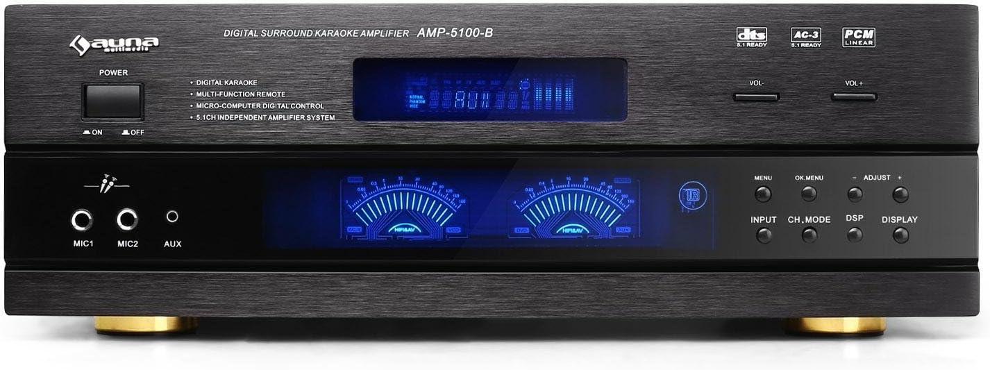 Amplificador AV de 1200 W negro Auna AMP5100 5.1, 3 x RCA, 3.5 mm