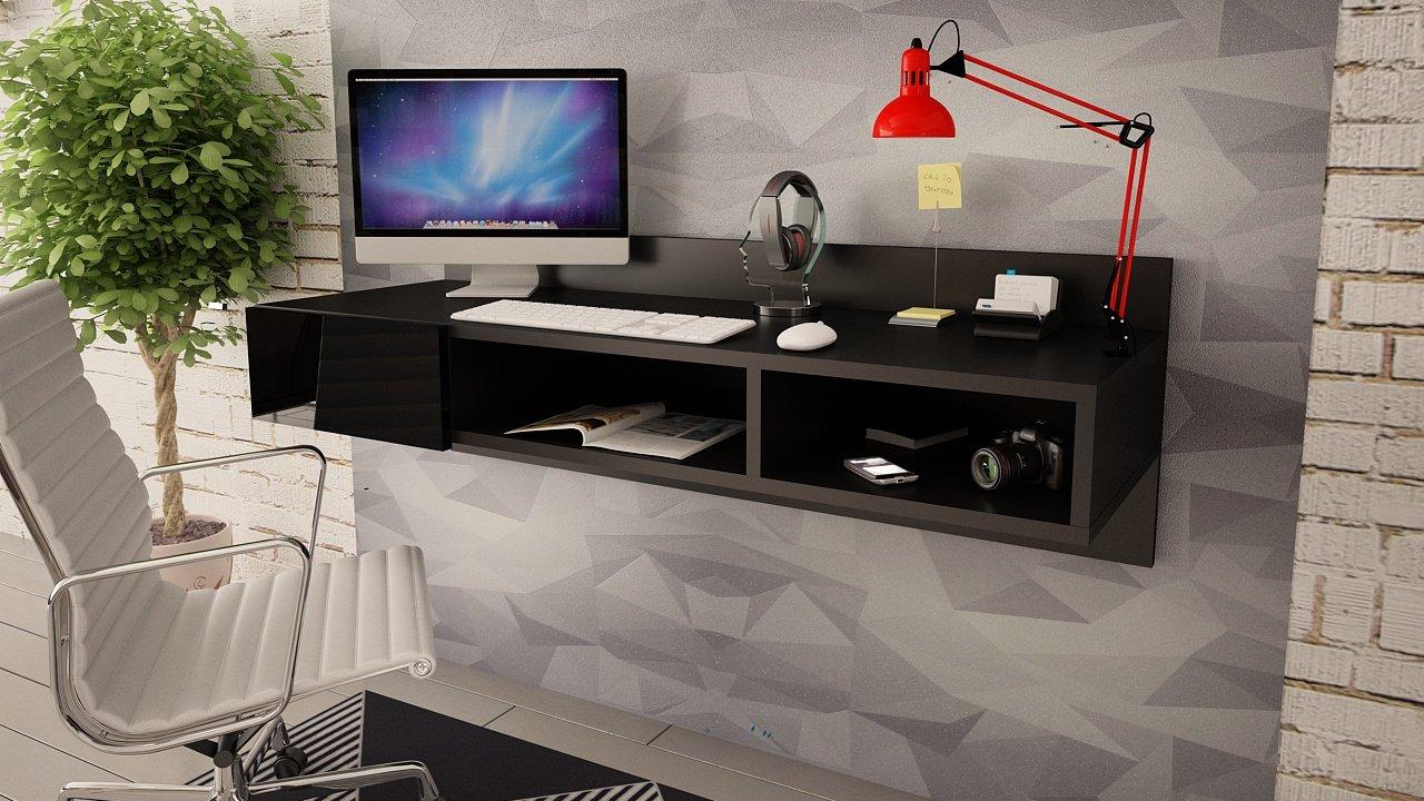 -Moderno escritorio montado a la pared, flotante, con un cajón brillante Dex