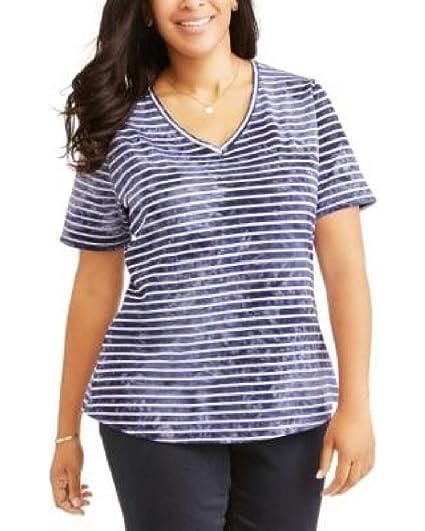 2be3079683b Terra   Sky Blue Striped T-Shirt Top Tee Shirt - Plus Size 3X (V ...